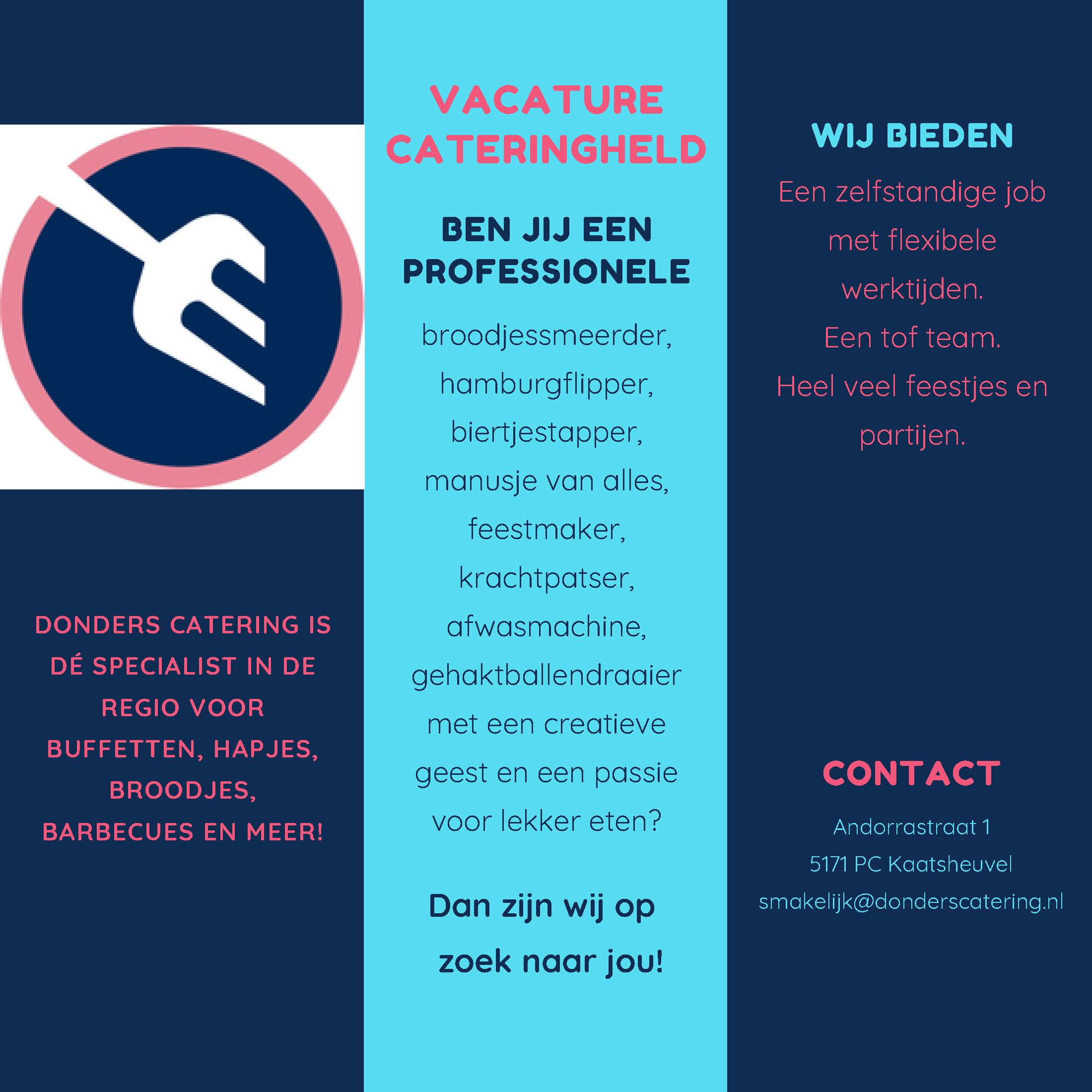 Vacature Donders Catering